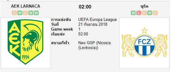 ทีเด็ดฟุตบอล ยูโรป้า ลีก (ไซปรัส) [D1-9]ลาร์นาคา (-0.5) เอฟซี ซูริค[D1-7] (สวิตฯ)