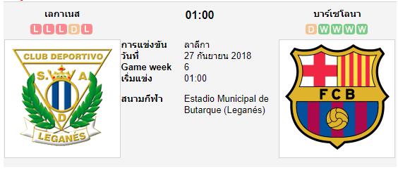 ทีเด็ดฟุตบอล ลาลีกา สเปน เลกาเนส[20] (+1.5/2) บาร์เซโลน่า[1]