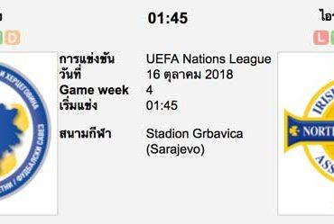 ทีเด็ดฟุตบอล ยูฟ่า เนชั่นส์ ลีก [B3-1]บอสเนีย (-0.5/1) ไอร์แลนด์เหนือ[B3-3]