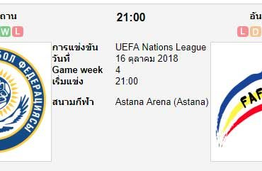 ทีเด็ดฟุตบอล ยูฟ่า เนชันส์ ลีก คาซัคสถาน[D1-4] (-1.5) อันดอร์รา[D1-2]