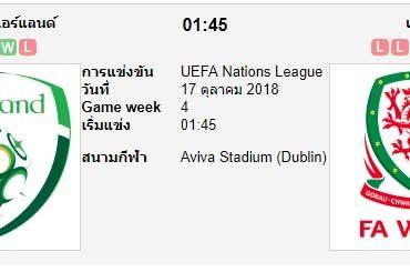 ทีเด็ดฟุตบอล ยูฟ่า เนชันส์ ลีก ไอร์แลนด์[B4-3] (-0/0.5) เวลส์[B4-2]