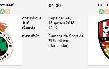 ทีเด็ดฟุตบอล โกปา เดล เรย์ สเปน [D3B-1]ราซิ่ง ซานตานเดร์ (-1) โลโกรนเยส[D3B-13]