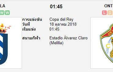 ทีเด็ดฟุตบอล โกปา เดล เรย์ สเปน [D3D-1] เมลิลล่า (-0.5) ออนทินเยนท์[D3C-7]
