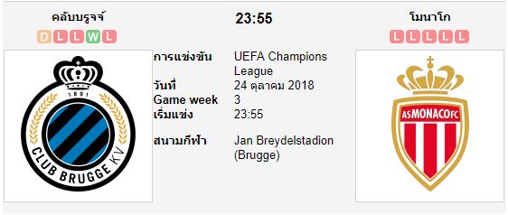 ทีเด็ดฟุตบอล ยูฟ่า แชมเปี้ยนส์ลีก [D1-2]คลับบรูซ (-0/0.5) โมนาโก[D1-19]