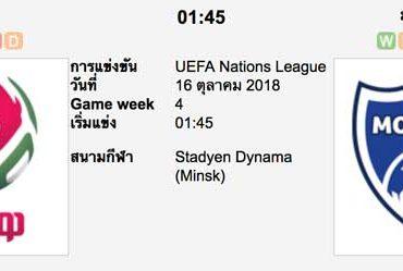 ทีเด็ดฟุตบอล ยูฟ่า เนชั่นส์ ลีก [D2-1]เบลารุส (-1) มอลโดว่า[D2-3]